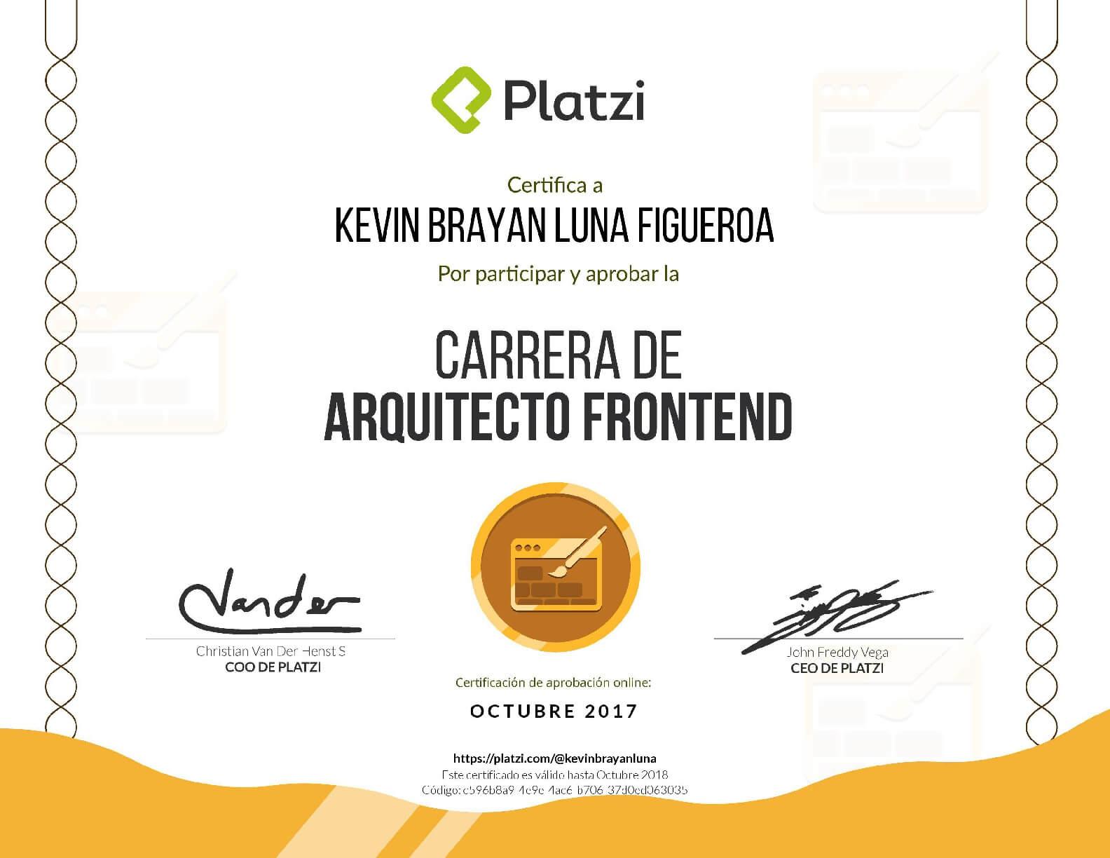 certificación platzi de arquitecto Frontend