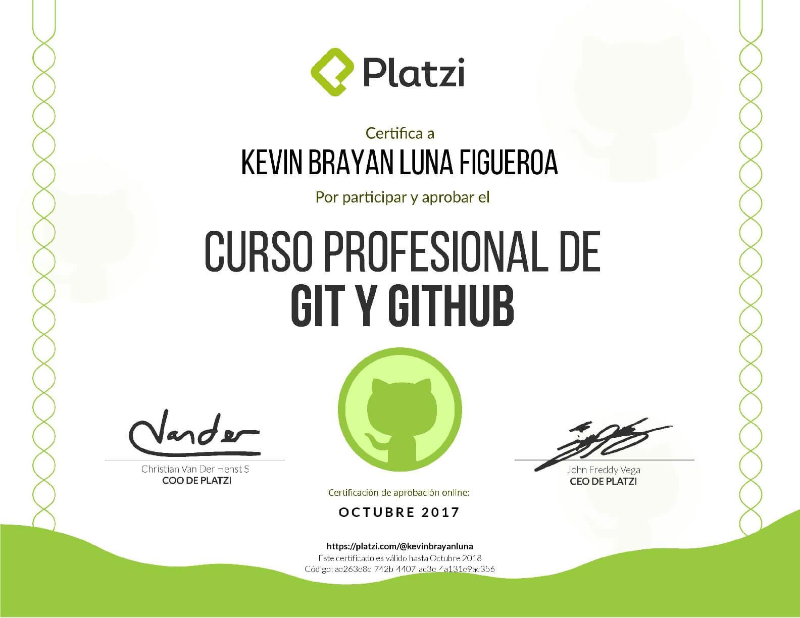 certificación platzi de Git y Github